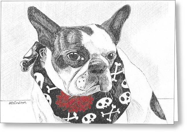 Greeting Card featuring the drawing Bad To The Bone by Arlene Crafton
