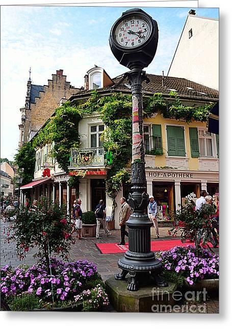 Baden-baden Street Corner, Germany Greeting Card by Elzbieta Fazel