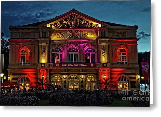 Baden-baden Theater At Night, Germany Greeting Card by Elzbieta Fazel