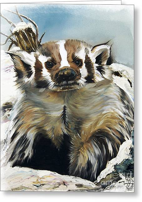 Badger - Guardian Of The South Greeting Card by J W Baker