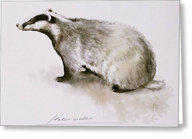 Badger, Watercolor Greeting Card by Attila Meszlenyi