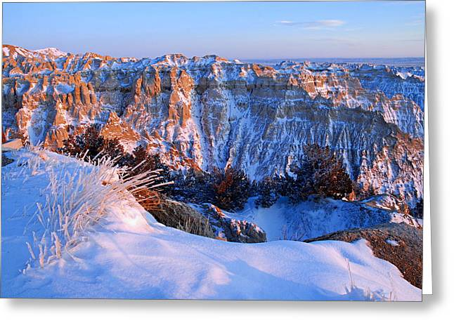 Badlands At Sunset Greeting Card