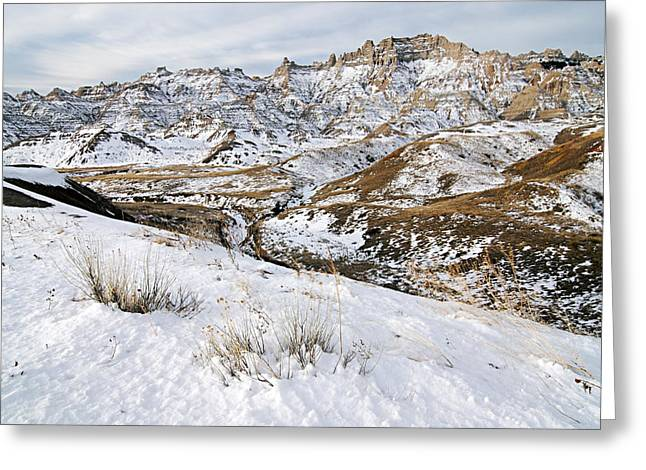 Badlands In Snow Greeting Card