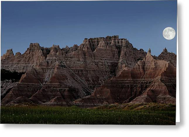 Badlands Moon Rising Greeting Card