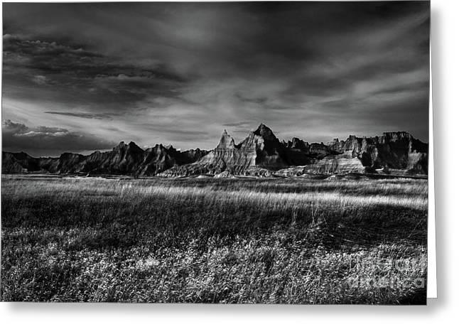 Badlands National Park South Dakota Landscape Bw Greeting Card