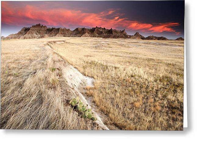 Badlands Sunset Greeting Card by Eric Foltz