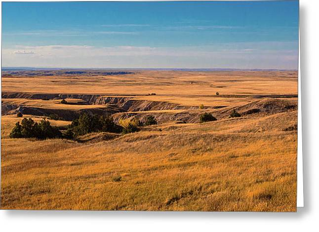 Badlands Vi Panoramic Greeting Card by Tom Mc Nemar