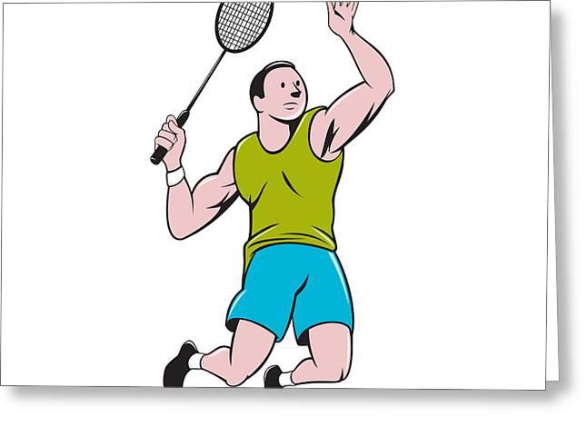 Badminton Player Racquet Striking Cartoon Greeting Card by Aloysius Patrimonio