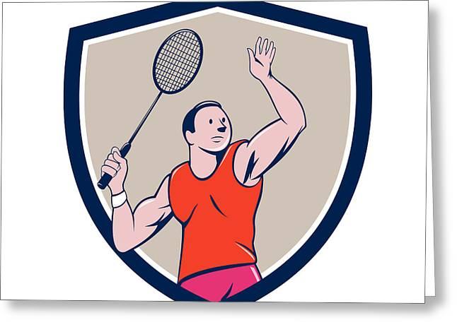 Badminton Player Racquet Striking Crest Cartoon Greeting Card by Aloysius Patrimonio
