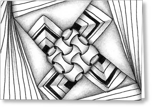 Greeting Card featuring the drawing Baecube String by Jan Steinle