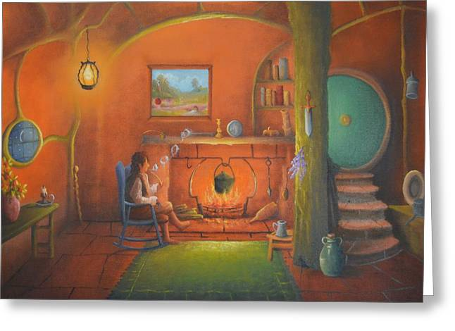 Bag End In A Hole In The Ground Greeting Card by Joe Gilronan