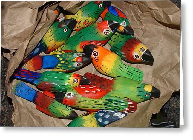 Bag Of Birds Greeting Card by Don Whipple
