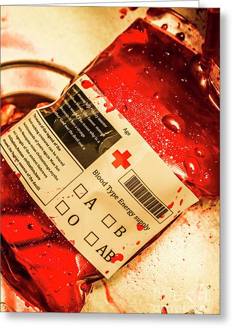 Bag Of Blood In Stainless Steel Surgical Ward Greeting Card by Jorgo Photography - Wall Art Gallery