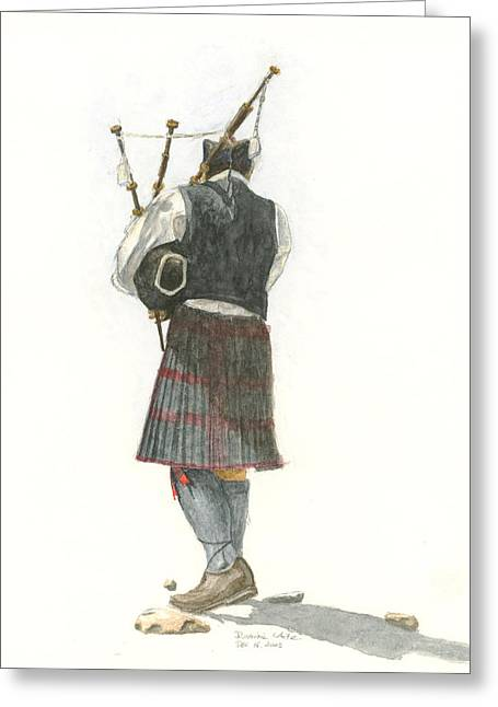 Bag Piper On A Maine Beach Greeting Card