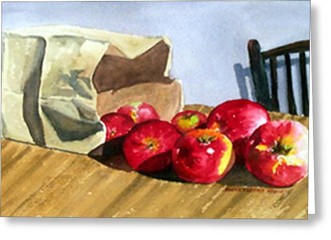 Bag With Apples Greeting Card by Anne Trotter Hodge