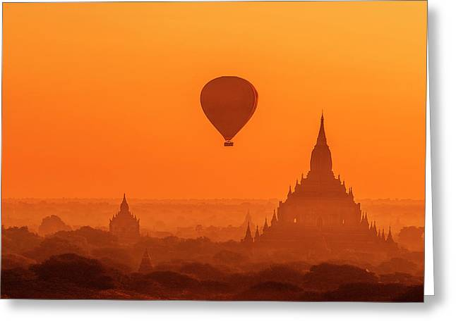 Bagan Pagodas And Hot Air Balloon Greeting Card