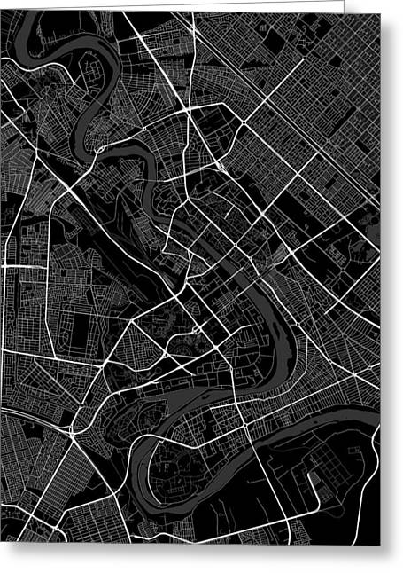 Baghdad Iraq Dark Map Greeting Card by Jurq Studio