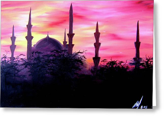 Baghdad Greeting Cards Paintings Greeting Cards - Baghdad Sunset Greeting Card by Michael McKenzie