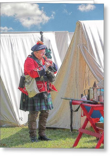 Bagpipes In Camp Greeting Card