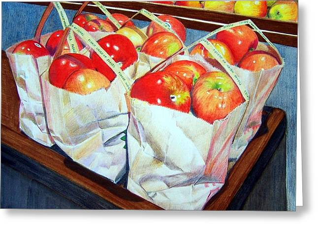 Greeting Card featuring the mixed media Bags Of Apples by Constance Drescher