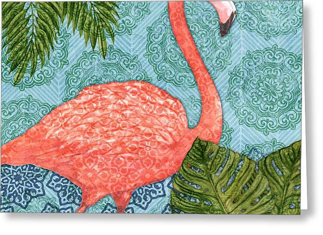 Bahama Flamingo I Greeting Card by Paul Brent