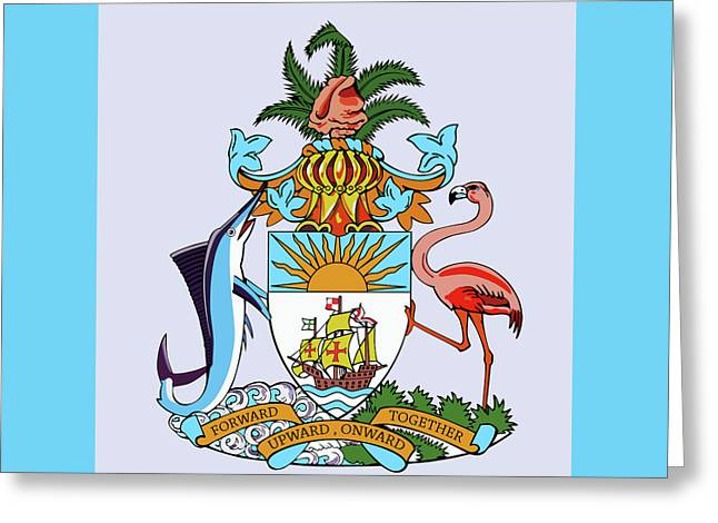 Greeting Card featuring the drawing Bahamas Coat Of Arms by Movie Poster Prints