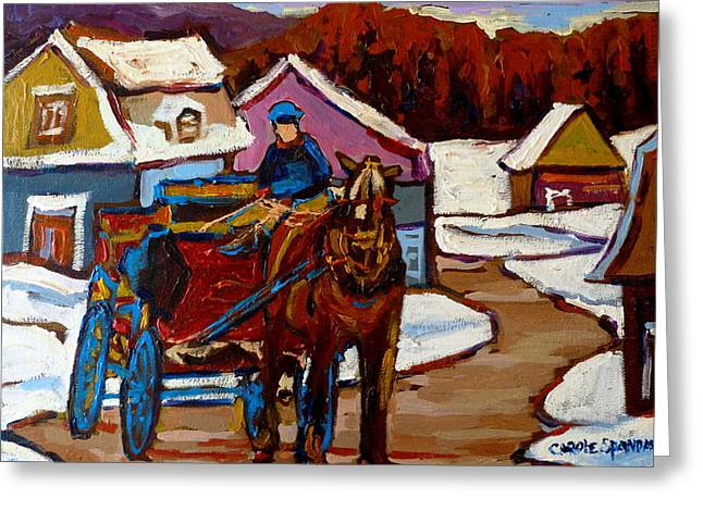 Baie Saint Paul Quebec Country Scene Greeting Card by Carole Spandau