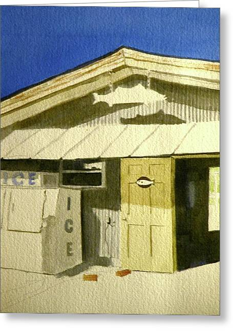 Sign In Florida Paintings Greeting Cards - Bait shop in Gasparilla Florida Greeting Card by Walt Maes