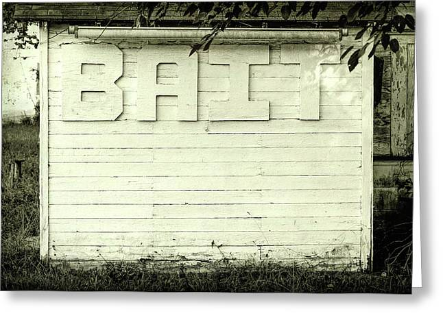 Bait Sign Fishing Black And White Greeting Card by Terry DeLuco