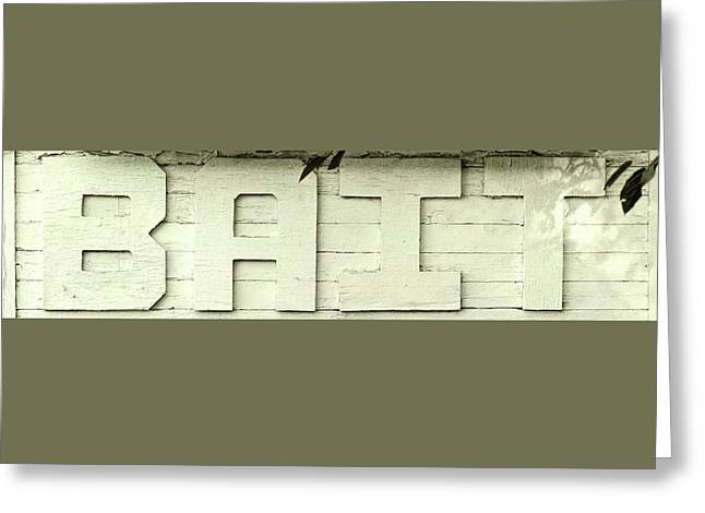 Bait Sign Panoramic Greeting Card by Terry DeLuco