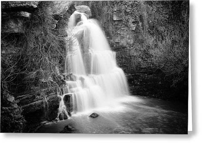 Bajouca Waterfall Bw Greeting Card