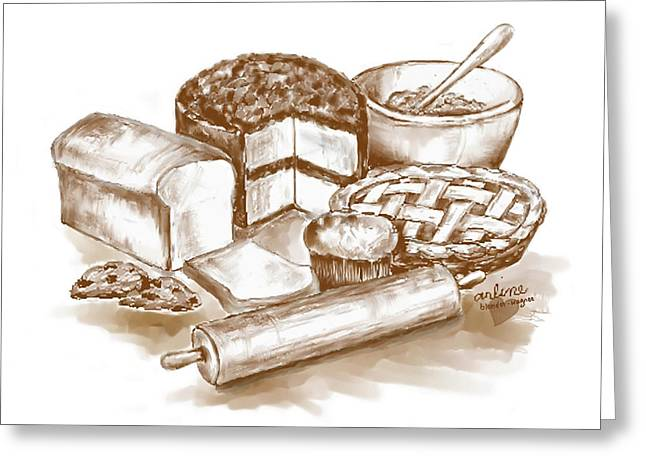 Baked Goods Greeting Card by Arline Wagner