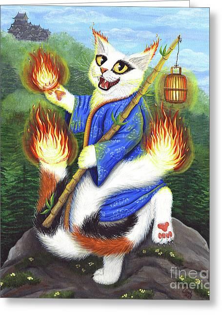 Bakeneko Nekomata - Japanese Monster Cat Greeting Card
