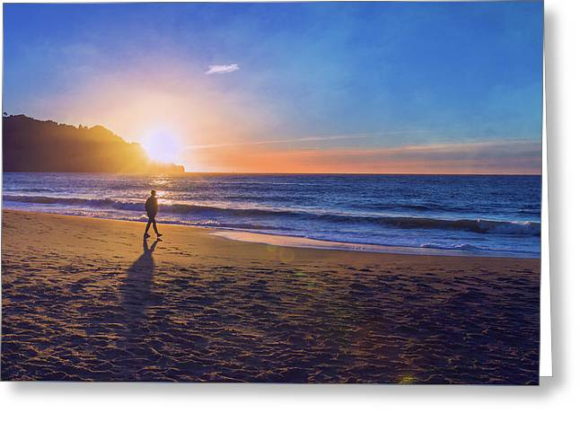 Baker Beach Sunset And Male Silhoutte - San Francisco  Greeting Card