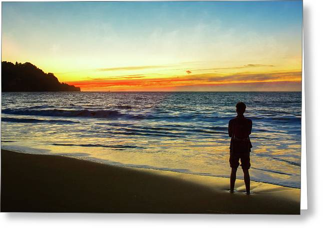 Baker Beach Sunset And Silhoutte Of Thinking Man Greeting Card