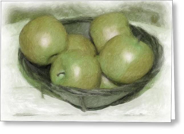 Baking Apples Greeting Card by Susan  Lipschutz