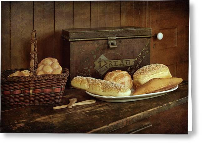 Baking Day - Bread Greeting Card by Nikolyn McDonald