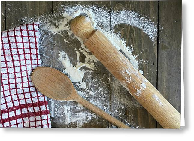 Baking Scene Greeting Card by Tom Gowanlock