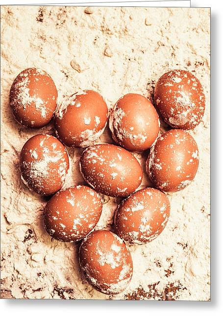 Baking With Flour And Eggs Greeting Card