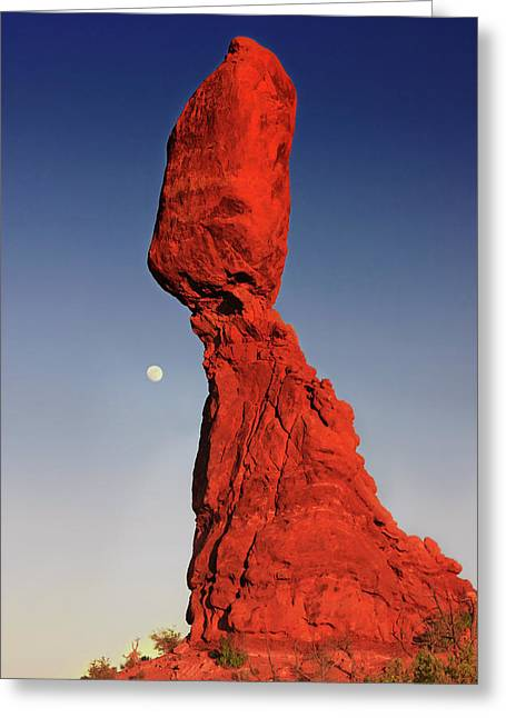 Monolith Greeting Cards - Balanced Rock and Moon Greeting Card by William Gillam