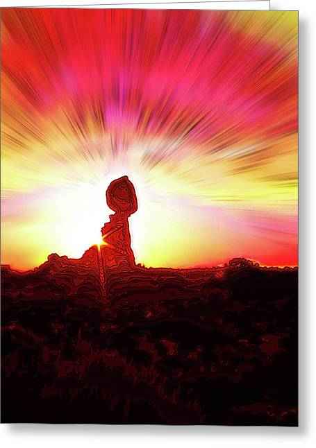 Balanced Rock Sunset - Fire In The Sky Greeting Card by Steve Ohlsen
