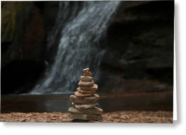 Balanced Stones Waterfall Greeting Card