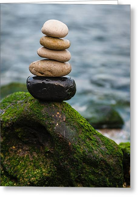 Balancing Zen Stones By The Sea IIi Greeting Card by Marco Oliveira