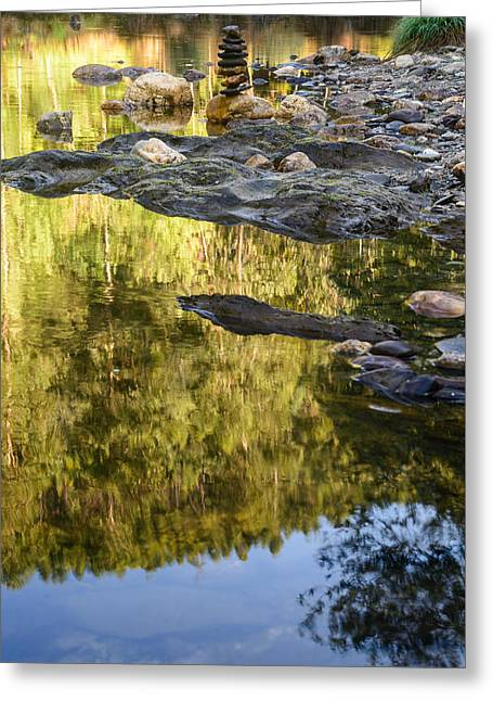 Balancing Zen Stones In Countryside River Ix Greeting Card by Marco Oliveira