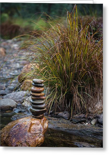 Balancing Zen Stones In Countryside River V Greeting Card by Marco Oliveira