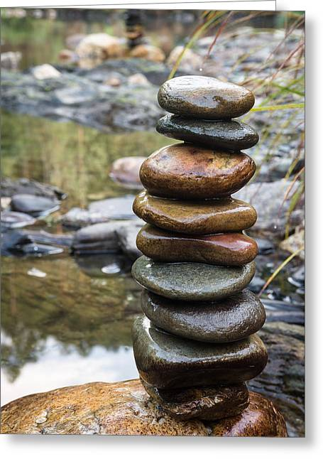 Balancing Zen Stones In Countryside River Vii Greeting Card