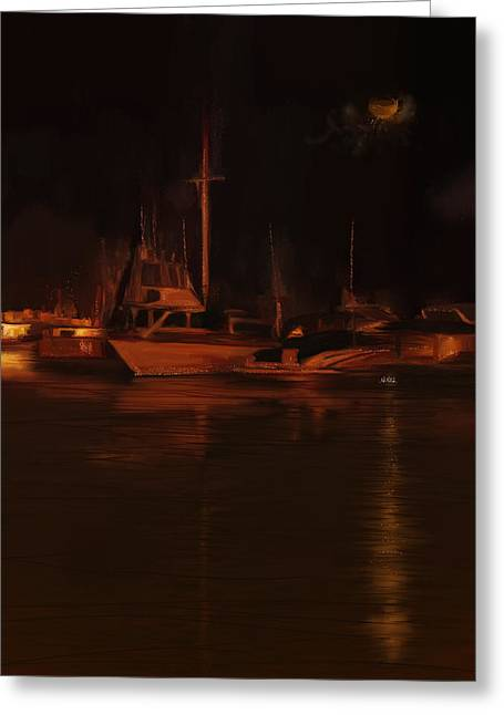 Balboa Island Newport Bay Night Greeting Card by Angela A Stanton