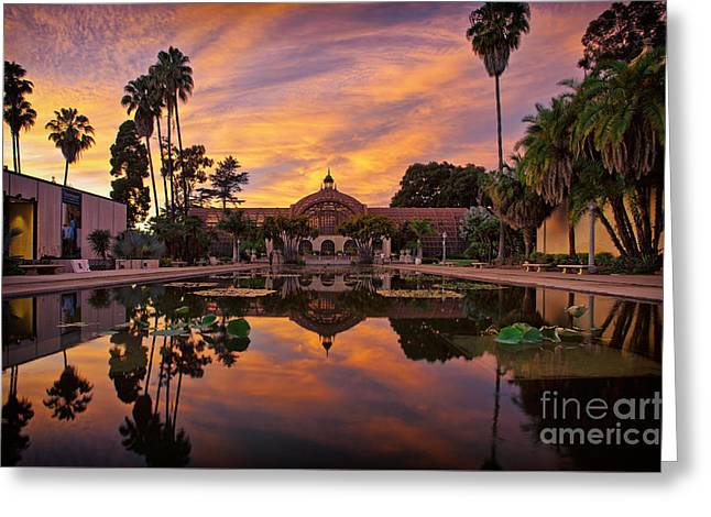 Balboa Park Botanical Building Sunset Greeting Card