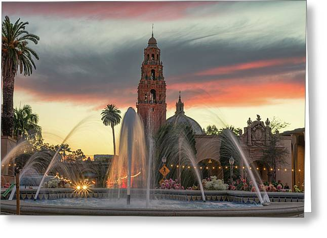Balboa Park Sunset Greeting Card
