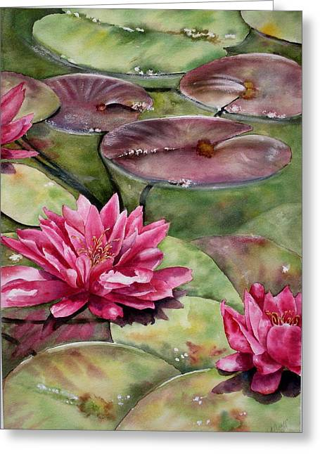 Greeting Card featuring the painting Balboa Water Lilies by Mary McCullah